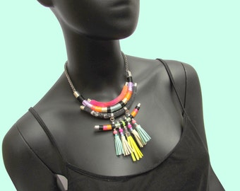 Tassel statement necklace leather ethnic necklace tribal inspired necklace OOAK necklace Thread wrapped jewellery