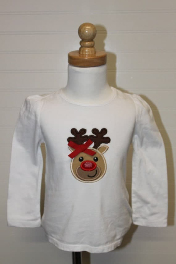 Christmas reindeer shirt, girls Christmas clothes, reindeer with bow,  santa visit outfit, rudolph shirt, boy girl christmas shirt, family