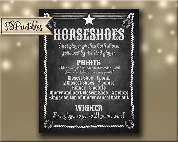Horseshoe Sign Printable File Chalkboard Styel Just