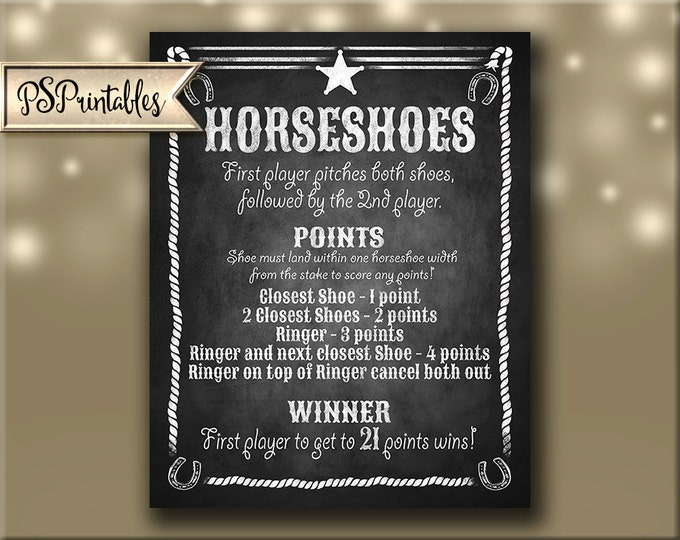 Horseshoe Sign PRINTABLE file - Chalkboard styel, Just download and print - Horseshoe rules, wedding horseshoes, horseshoe game party