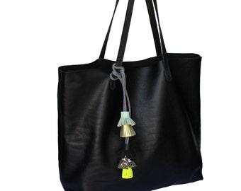 Black Leather Tote bag with tassels