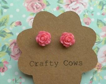 Tiny pink rose earrings - 9mm rose stud earrings small pink flower earrings