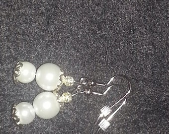 White Glass Pearl Earring Set with silver design