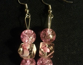 Pink Glass Beads and clear glass beads with pink designs inside