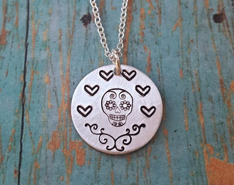 Sugar Skull Necklace - Sugar Skull Jewelry - Sugar Skull - Dia de los Muertos - Gift for Her - Hand Stamped Necklace - Skull - Flowers