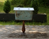 """Refinished 1914 Pedestal Utility Farm Sink 26"""" Cast Iron Porcelain Kohler Sink Original Blue Umber Patina"""