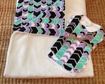 Baby Bundle - purple and mint chevron - Blanket, Bib and Burp Cloth