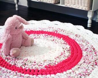 Handmade Crochet Round Nursery Rag Rug, Girls Pink Rag Rug, Nursery Area Rug, Shabby Chic Nursery Rug, Handmade Unique Kids Throw Rug