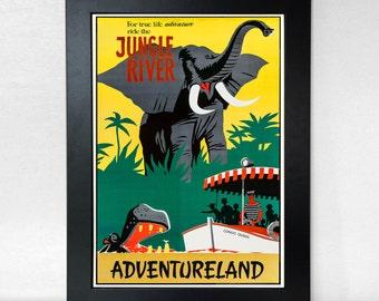 Adventureland Jungle River - Vintage Style Disneyland Poster Unframed