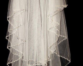 Crystal Beaded Edge Wedding Veil Two Tier Pearl 2