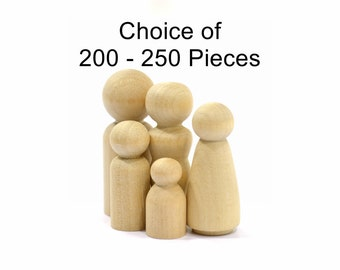 Family of 5 Wooden Unfinished Peg People-High Quality Natural Solid Hardwood Turnings-Sanded and Ready to Paint-Waldorf People-Organic