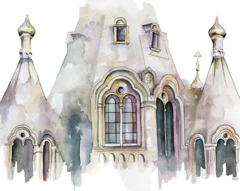 "Cathedral Painting - Print from Original Watercolor Painting, ""Cathedral 1"", Church, Abstract, Modern Watercolor"