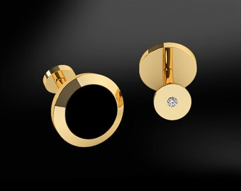 ONYX & DIAMONDS GOLD Round Cufflinks