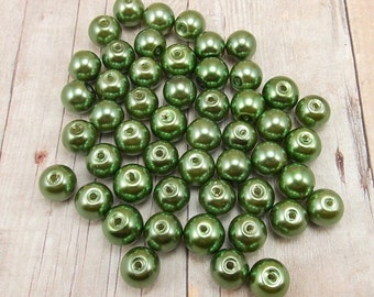 8mm Glass Pearls - Olive Green - 50 pieces - Fern - Moss - Forest