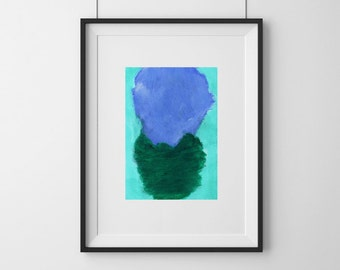 Small Abstract Ink Painting, Aqua Blue Minimalist Paper Art, Blue Painting, Calming, Elizabeth Ellenor