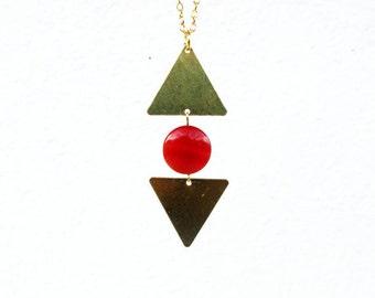 Carnelian Necklace, Triangle Geometric Necklace, Gold Necklace, Raw Brass Necklace, Carnelian Pendant