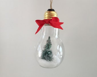 Snow globe, Christmas tree ornament, light bulb snow globe, Christmas decor, Christmas decorations, tree decorations, Xmas decor