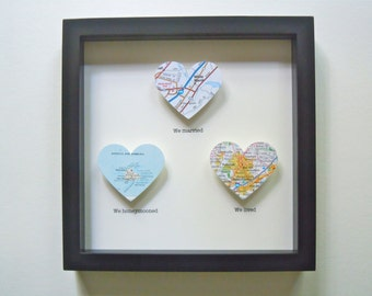 Map Heart Shadow Box with Text - Three Heart Maps - 3D Map Art - Customized Map Gift - Framed Heart Maps - Wedding or Anniversary Gift
