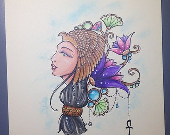 Egyptian goddess A4 original illustration