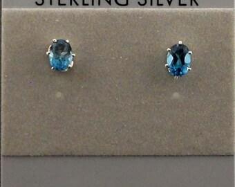 Topaz blue Sterling Silver Stud Post Earrings