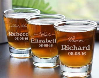 Personalized Shot Glass, Wedding Party, Engraved Gift