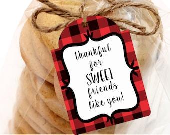 Prinable Christmas Gift Tags, Printable Thankful for SWEET Friends Gift Tags, Printable Buffalo Plaid Gift Tags by SUNSHINETULIPDESIGN