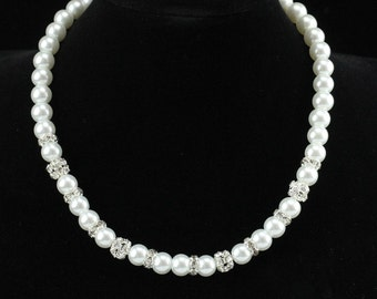 Pearl necklace wedding,glass pearl choker necklace, bridal crystal necklace,wedding rhinestone necklace,bridesmaid necklace,sparkle necklace
