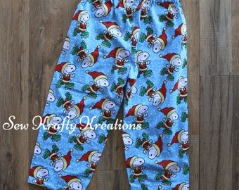 Children's Cotton Lounge Pants - Blue with Skating Snoopy