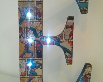 Large Letter with Lights - SUPERHEROES - unique gift!