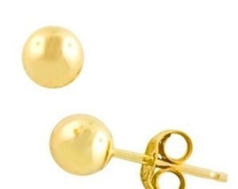 6MM Ball Stud Post Earrings 925 Sterling Silver 14K Yellow Gold Plated Shiny Polished Ball Stud Earrings 6mm