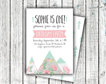 Birthday Party Invitation, Floral Mountains, Printable Invite,  Girl's Birthday Invites, Pink and Mint, 5x7 or 4x6 digital file #33