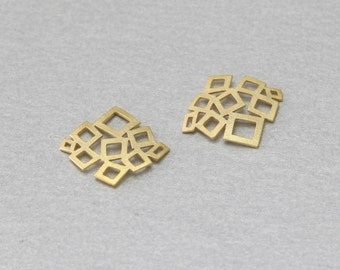 Square Brass Connector . Matte Gold Plated . 10 Pieces / C2066G-010