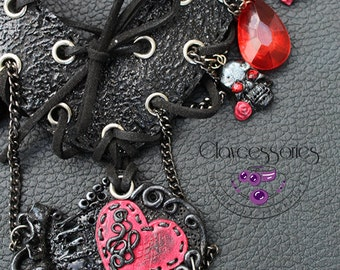 Gothic necklace / Corset necklace / Scull necklace / Gothic earrings / Scull earrings / Polymer clay necklace