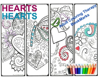 Coloring Bookmarks Adult Kids Hearts Butterflies Calming Anti Stress Therapy Printable