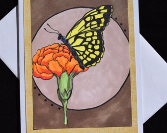 Butterfly with Flower Greeting Card; Birthday; Anniversary; Thank You; Friendship; Get Well; Sympathy; All Occasion