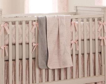 Girl Baby Bedding Paris Script Crib Blanket By Carousel Designs