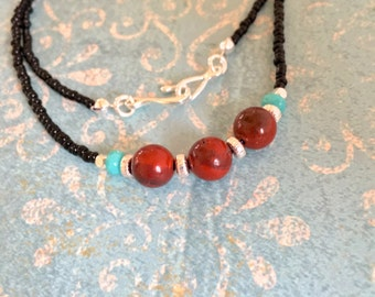 sale Red Flake JASPER NECKLACE turquoise Czech glass black beads santa fe southwestern jewelry