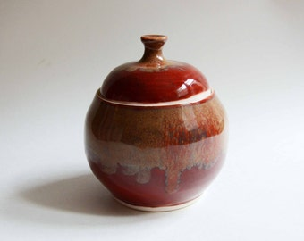 Red Lidded Jar with Brown Accent Drips - handmade wheel thrown lidded pot