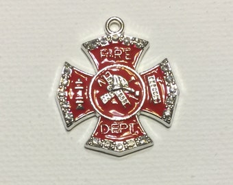 Fire Department Charm Pendant, Red Enamel, Clear Rhinestones, Ladder, Hose, Fire Truck, Fire Hydrant, Fire House