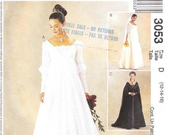 McCall's 3053 Misses' Renaissance Bridal Gown Sewing Pattern, 12-16