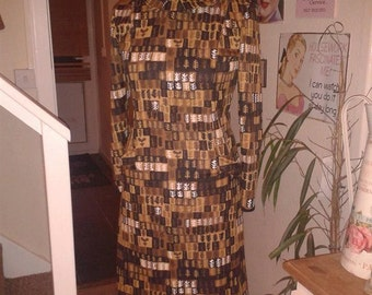 1960's winter style dress in vintage fabric size 10/12