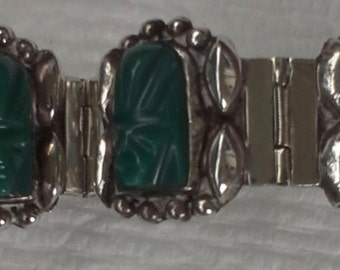Bracelet  Hinged ,links carved green onyx on sterling silverVintage Mexico 1940's