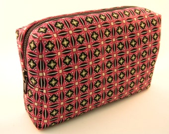 Pink and Black Geometric Print Makeup Bag- Large- Handmade