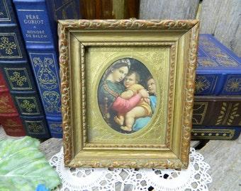 Vintage Italian Madonna Postcard in Wood Frame - La Madonna Della Seggioga