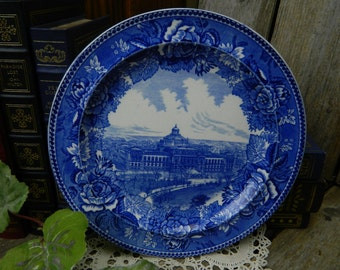 Antique Wedgwood Etruria 1897 Blue Transferware Library of Congress Plate