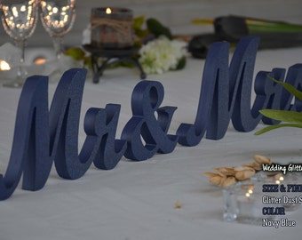 mr and mrs- mr and mrs table sign, navy blue centerpieces
