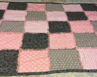 Pink / Grey Baby Rag Quilt