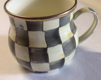Courtly Check Mackenzie Childs Hand Painted Enamelware Teacup............Excellent Condition