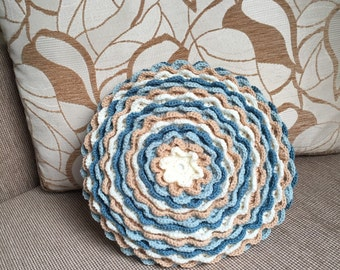 Lovely decorative crochet cushion cover blue and cream