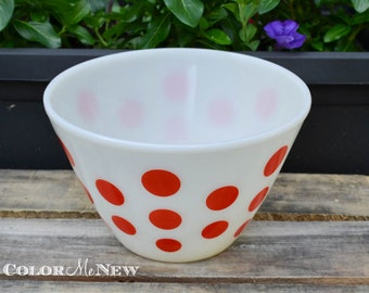 Vintage Fire King Red Dot Bowl Mixing Bowl - 8.5 inches